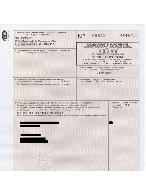 Certificate Of Origin Certified By A French Cci Fulloceans