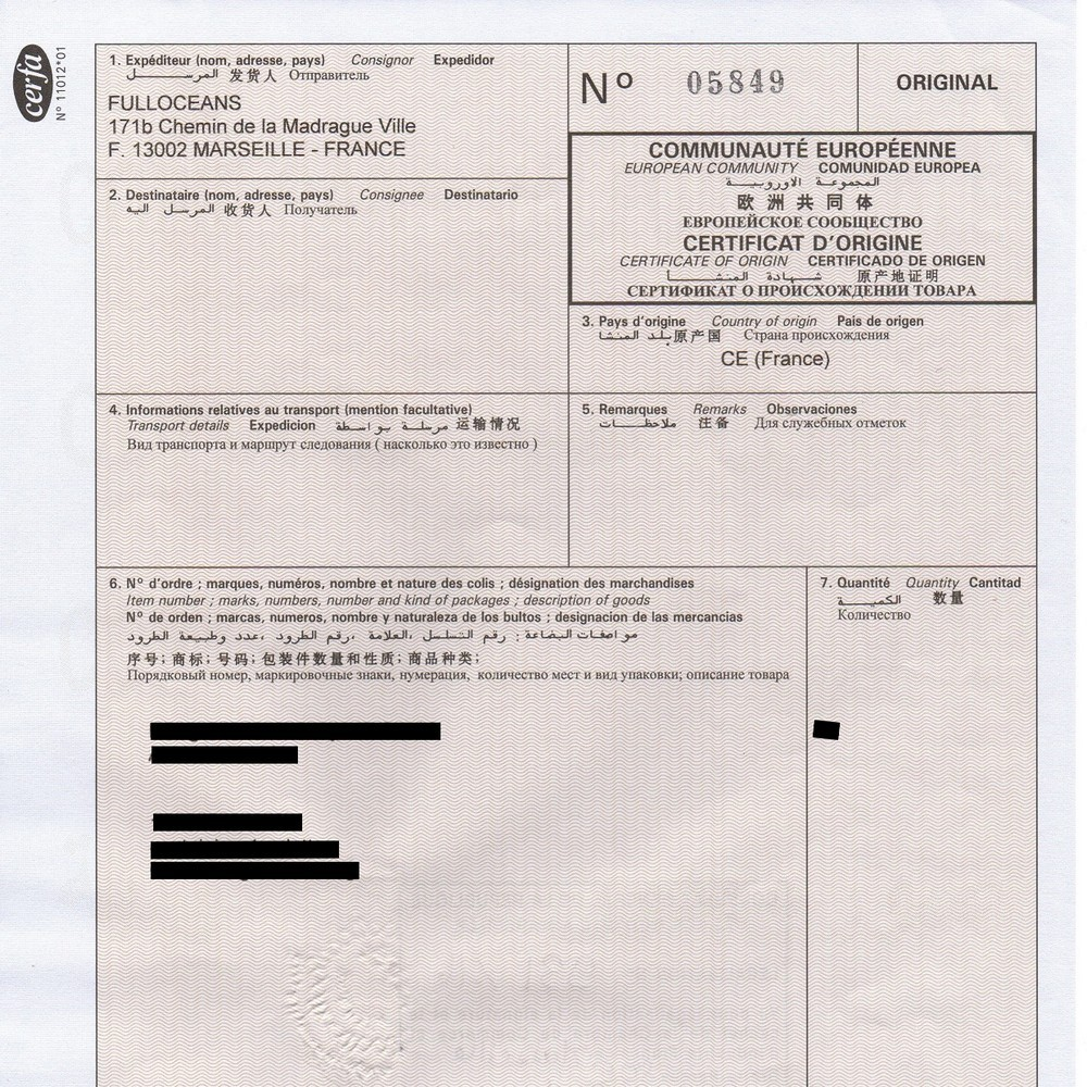 Certificate of Origin certified by a French CCI FullOceans – Country of Origin Document