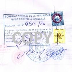 Certification de 1 document par une Ambassade ou un Consulat