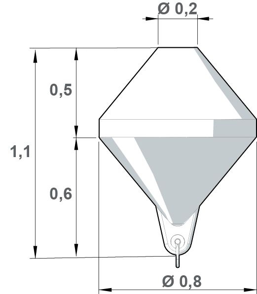 Conical troncated buoy